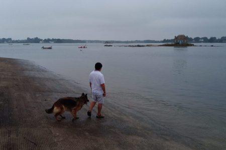 un homme et son chien à Saint Cado